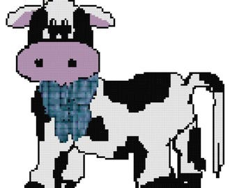 A Little Cow Counted Cross Stitch Pattern PDF Download