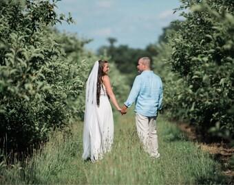Boho style wedding veil