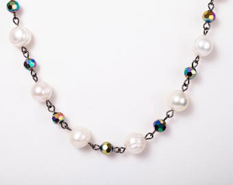 Cultured pearl and rainbow bead necklace - with free earrings!