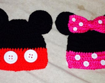 Mickey and Minnie Mouse Disney Baby Hats Crocheted