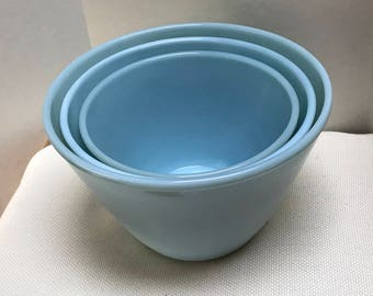 Vintage Fire King Mixing Bowls | Blue Turquoise | Nesting Bowls | Set of 3 | Small, Medium, Large