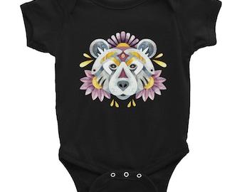 Watercolor bear Infant Bodysuit, Spirit animal design, boho, floral animal print, cool baby outfit, bear shirt for baby, animal portrait tee
