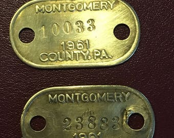 Brass Dog Tags(2) Montgomery County Pa