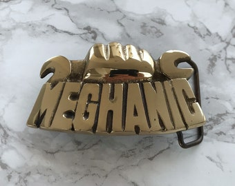 Vintage Belt Buckle Mechanic Solid Brass 1981 Baron Buckle