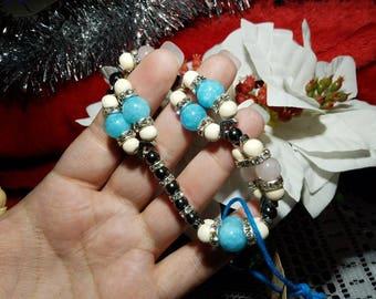 "Brilliantly Bright double-strand Aquamarine, Rose Quartz, Hematite, and Wood bead Stretch Bracelet, with Rhinestone spacers, 8.5"" length"