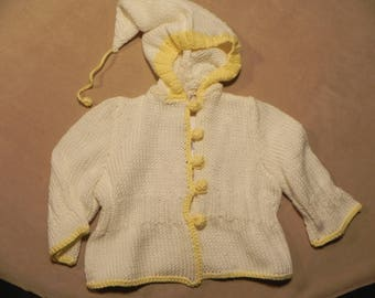 Sweater with cotton hood for newborn 6/9 months of craftsmanship Maria Barreto Artistic workshop, knitted. UNIC Piece