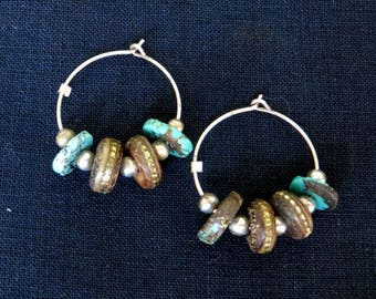 Hoop Earrings of Turquoise, Silver, and Vintage Mala Beads on a Sterling Silver Hoop