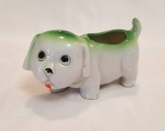 Green and White Puppy Dog Planter