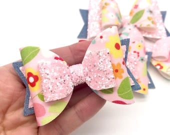 Pastel pink floral denim fabric Medium & large hair bow clip headband hair accessories