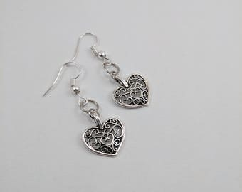 Swirly Heart Drop Earrings, Silver, Small