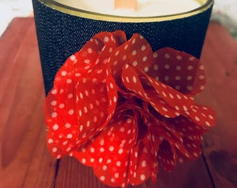 Denim ( Dark Blue) &  Floral  Hand-Poured Soy Wax Candle