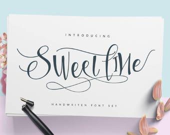 Calligraphy Font,  Swirly Font, Wedding Watercolor, Christmas font, Handwritten Script  Instant Download - Sweetline Script Font