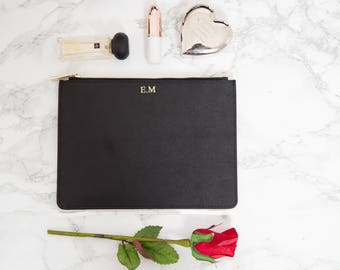 Personalised Leather Black Bridesmaids Pouch, Customised Saffiano Leather Make up bag, Bag insert-Monogrammed Womens Clutch Bag handbag