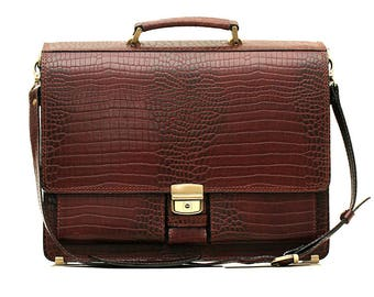Brown crocodile leather briefcase leather laptop bag classic briefcase brown business bag leather messenger brown crocodile bag