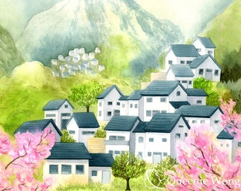 Watercolor, Art print of Landscape, Painting of a Village with Cherry Blossom in Spring, 8x10 inch