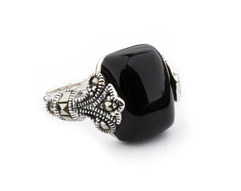 Maisie Ring | Onyx, Marcasite and Sterling Silver