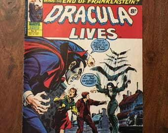 Collection of 9 Vintage 1970s Dracula Lives Stan Lee Marvel Comic Valentines Gift for Him