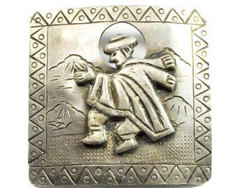 """900 Fine Silver Industria Peruana Square Brooch Pin Clapping Dancing 1.75"""""""