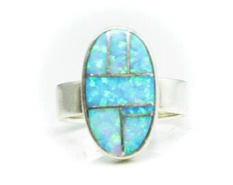 Sterling Silver Earl Plummer TSF Blue Fire Opal Inlay Ring 18mm Size 6.5