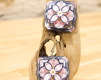 """Square flower 30s - collection """"My paper Garden"""" earrings """"my garden paper"""" flower earing square"""