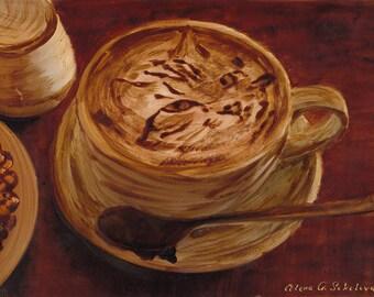 Coffee Art of Barista Art - Original Coffee Painting, coffee art
