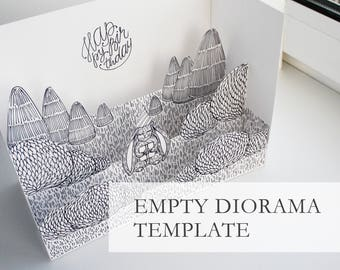 Printable Empty Diorama Template, 3d Postcard Template, DIY Empty Pop-Up Postcard Template, 3d Papercut Template