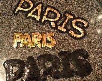 3pc/set Black Gold Large Small Paris Iron On Sequin Embroidered Fashion Patch Logo DIY Shoes Handbag Jacket