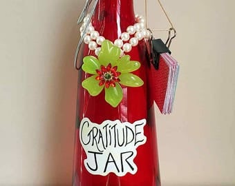 Gratitude Jar with Upcycled Jewelry - Vintage Pearl