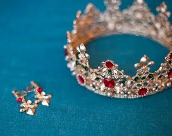 Red Crystar Tiara Crown for wedding dress, diademe for evening dress, princess tiara wedding tiaras