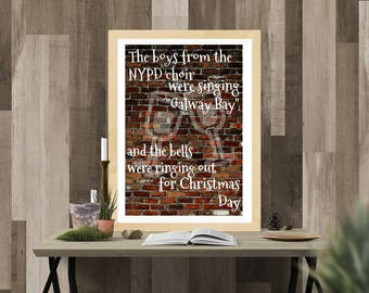 Fairytale of New York Pogues printable wall art poster instant download