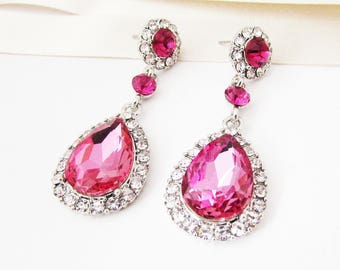 Long Hot Pink Earrings, Pink Earrings, Pink Crystal Earrings, Pink Wedding Jewellery, Hot Pink Wedding Earrings, Pink Bride Jewellery