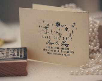 Save The Date Stamp with Snowflake design, Wedding Stamp