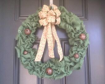 Burlap wreath, green w/ bells