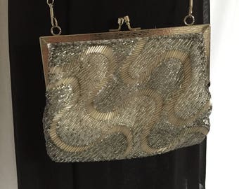 Vintage Silver Beaded Evening Bag by Walborg