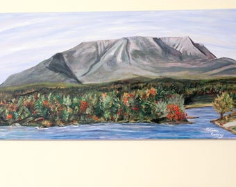 "Katahdin  Hand Painted  Acrylic Original Unframed on a 12""x 24""Stretched Canvas,Wall Art, Landscape Painting,Veiw at Abol Bridge,Hikers Gift"