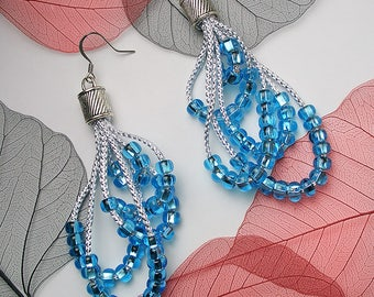 STATEMENT Icy Blue Bead Silver Cord Drop Asymmentrical Earrings For Holiday Party Special Occasion