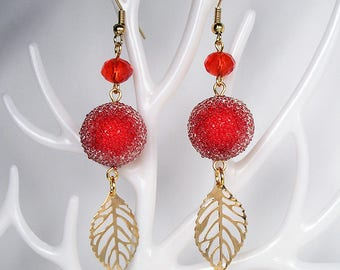 FROSTED Red Berry Gold Leaf Earrings For Holiday Party Special Occasion