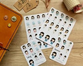 Cute brunette planner Girls, planner stickers, TN, Filofax, Erin Condren-Choruses