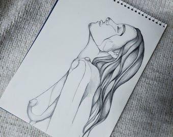 Pencil picture sketch women