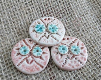 Set of three Quirky Handmade Ceramic Owl Buttons.Craft Buttons Knitting Sewing  Haberdashery Handmade Buttons Handmade Craft Supplies
