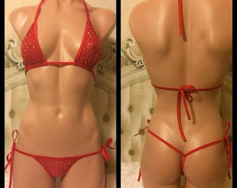 Exotic Dancer Stripper  Red  Rhinestone Mesh Side Tie Thong Outfit