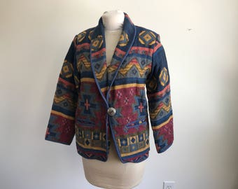 Vintage Women's 90's Western Jacket, Blanket Coat, Size Small