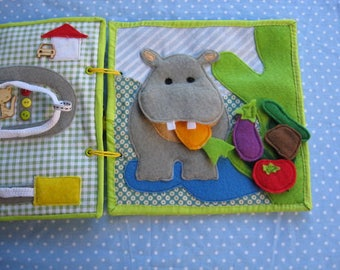 Quiet game,Hippopotamus and vegetables , Felt  vegetables ,  Gift for Kid, game for ages 1-3