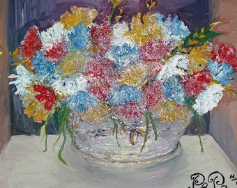 Original oil painting Flowers in pot