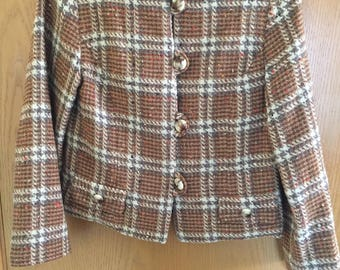 Handmade Vintage Plaid Cropped Coat Size Small