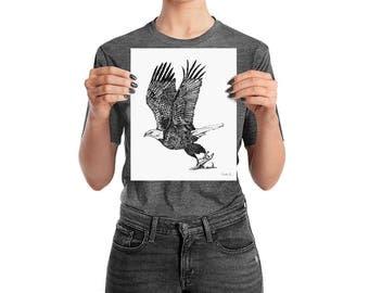 Sandie G Eagle Poster. Print Wall Art. Pointillism. Stippling. Dots. Drawing. Monochrome. Black and white. Sandiegartworks