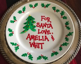 Personalized Retro Santa Cookie Plate / Ceramic Painted Christmas Plate