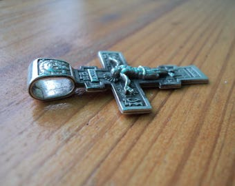 925 Silver Byzantine cross, pendant, Jesus, Crucifix, Russian Cyrillic, not made by hands, image, Prayer, vintage cross.