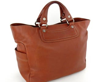 Authentic Vintage Céline Brown Leather Boogie Tote Bag