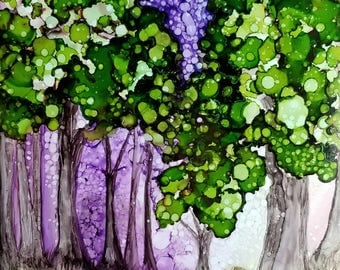 Alcohol Ink print 'Time spent amongst Trees'